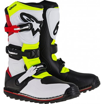 ALPINESTARS TECH T WHITE RED YELLOW-FLUO STIVALE TRIAL