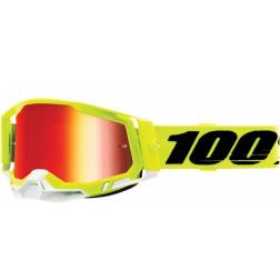 100% THE RACECRAFT 2 YELLOW LENTE SPECCHIO ROSSA MASCHERA