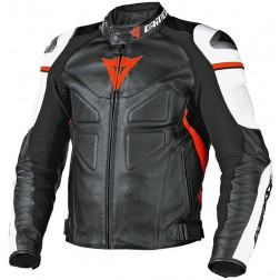 DAINESE AVRO BLACK WHITE RED GIACCA PELLE