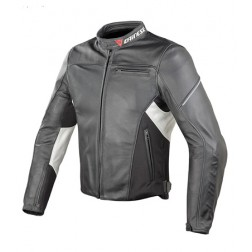 DAINESE CAGE BIANCO NERA GIACCA PELLE