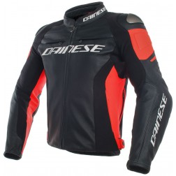 DAINESE RACING 3 BLACK FLUO RED GIACCA PELLE
