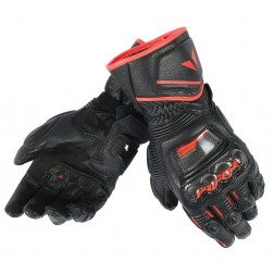 DAINESE DRUID D1 LONG BLACK FLUO RED GUANTI PELLE
