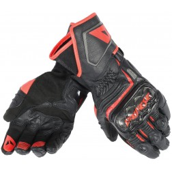 DAINESE CARBON D1 LONG BLACK FLUO RED GUANTI PELLE