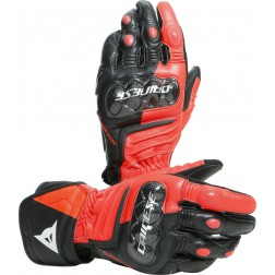 DAINESE CARBON 3 LONG BLACK/FLUO-RED/WHITE GUANTI PELLE