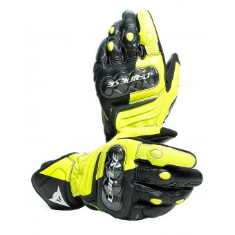 DAINESE CARBON 3 LONG BLACK/FLUO-YELLOW/WHITE GUANTI PELLE